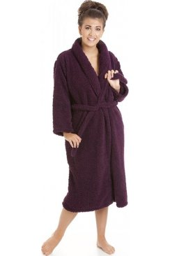 Womens Ladies Luxury Purple Super Soft Sheep Fleece Bath Robe