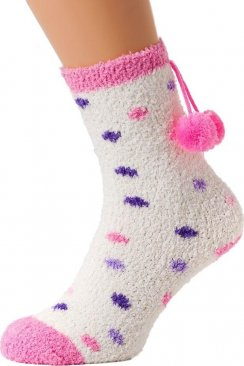 Womens Ladies Luxury SuperSoft Two pack Pink And Purple Spotty Bed Socks One Size