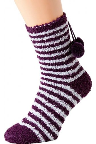 Womens Ladies Luxury SuperSoft Two pack Purple Striped Bed Socks One Size