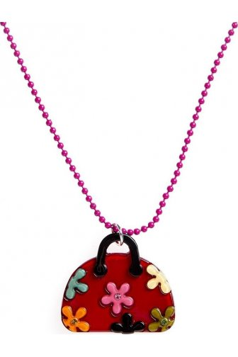 Womens Ladies Pink Beaded Chain Necklace Red Handbag With Multi-Coloured Flowers And Diamantes