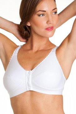 Womens Ladies Rose High Cotton Content Non Wired Front Fastening Bra White