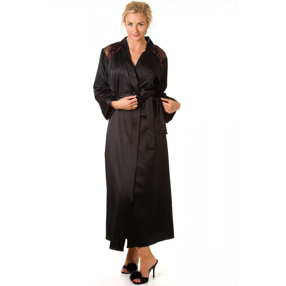Camille Womens Black and Red Satin Wrap