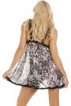 Womens Ladies Sexy And Seductive Snow Leopard Print Babydoll S-XL