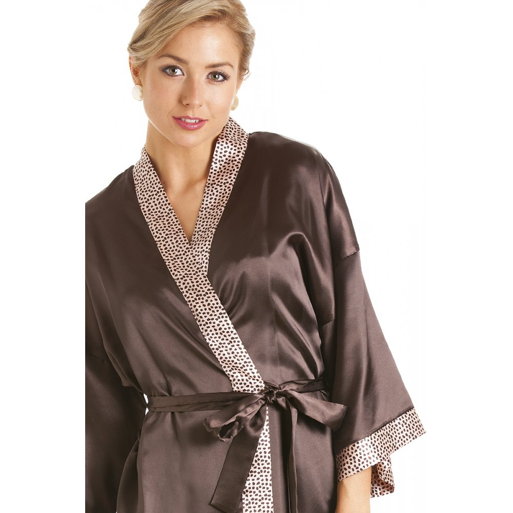 womens ladies short satin chocolate brown dressing gown wrap. Black Bedroom Furniture Sets. Home Design Ideas