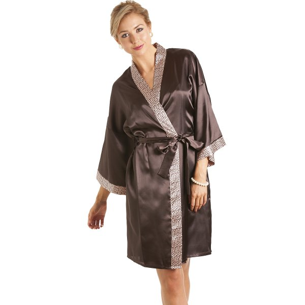 Camille Womens Ladies Short Satin Chocolate Brown Dressing Gown Wrap 5e7f26ce8165