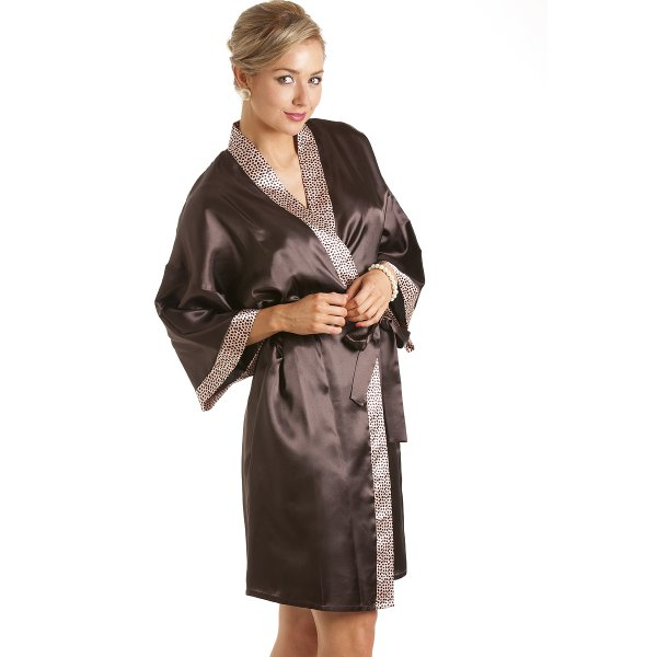 Ladies Dressing Gowns: Womens Ladies Short Satin Chocolate Brown Dressing Gown Wrap