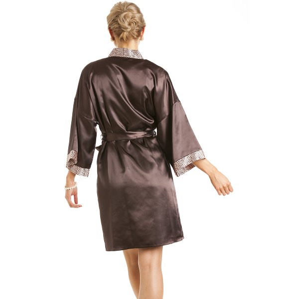7ddc0a94ba Camille Womens Ladies Short Satin Chocolate Brown Dressing Gown Wrap