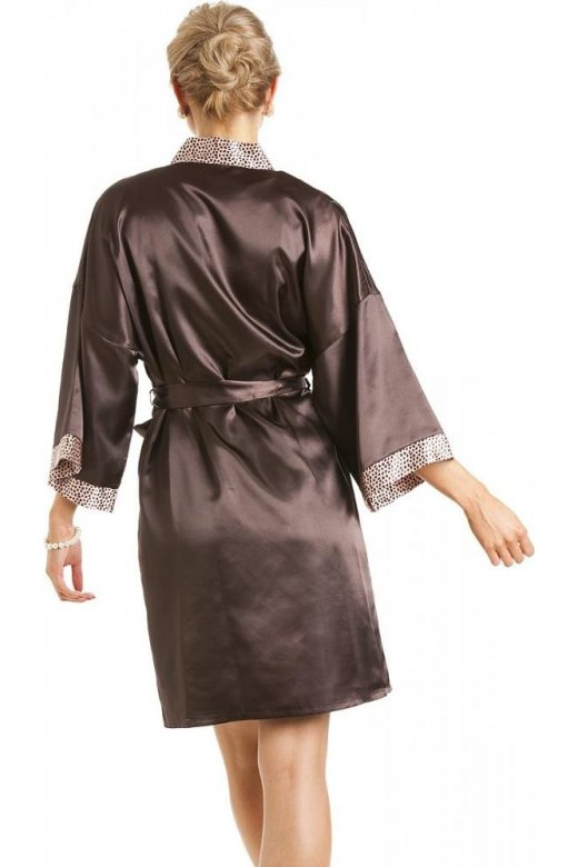 Camille Womens Ladies Short Satin Chocolate Brown Dressing Gown Wrap 493c99268