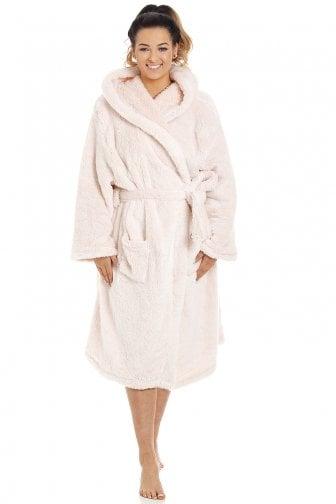 Camille Womens Nightwear Luxurious Soft Grey Honeycomb Bathrobe Dressing Gown