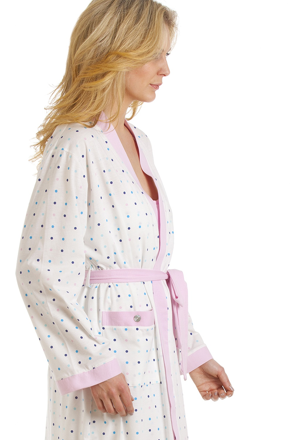 Womens Ladies Spot Print Lightweight Dressing Gown Robe