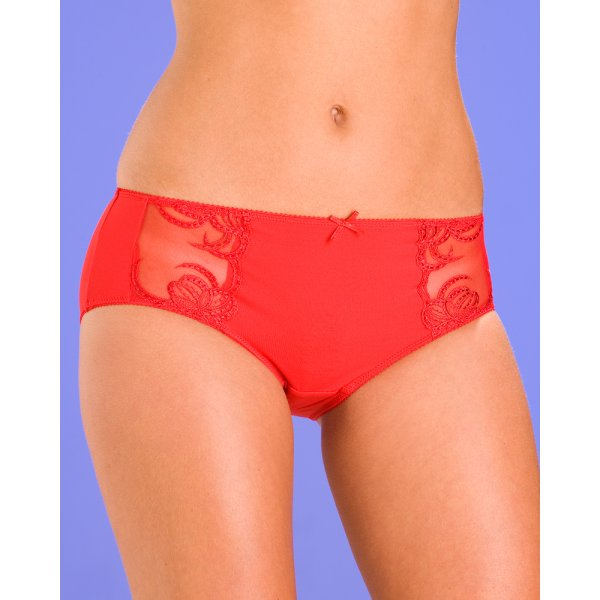 Womens Ladies Underwear Red Orchid Lace Panel Midi Briefs 94df3c146b