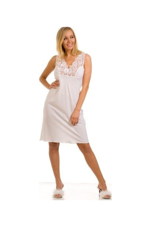 Womens Ladies White Nightwear Chemise Full Slip 1024