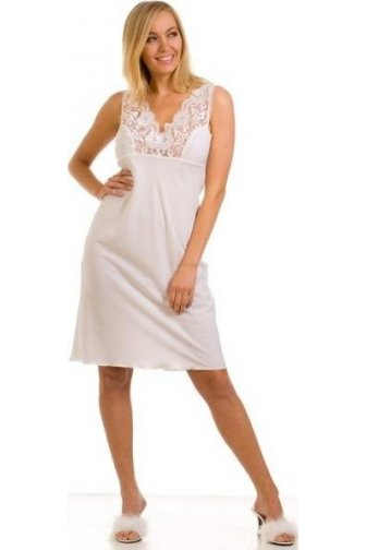 Womens Ladies White Nightwear Chemise Full Slip 10-24