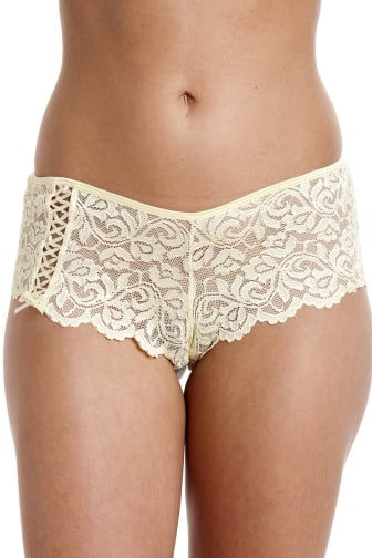 Womens Lemon Yellow Floral Lace Boxer Shorts