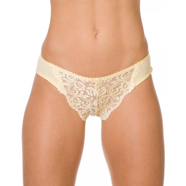 Womens Ladies Lemon Yellow Sensuous Sheer Lace Underwear Briefs 71f59b6da