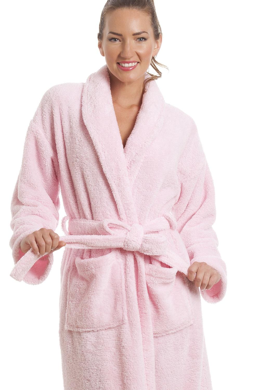 Womens Light Pink Supersoft Fleece Bathrobe