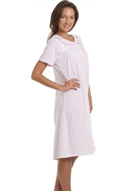 Womens Lilac Striped Short Sleeve Nightdress