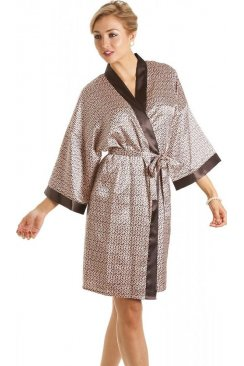 Womens Luxury Animal Print Short Satin Bath Robe Wrap