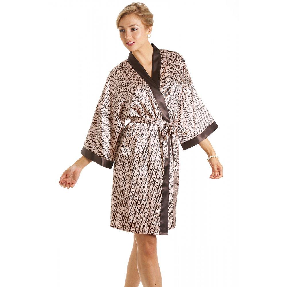 womens luxury animal print short satin bath robe wrap. Black Bedroom Furniture Sets. Home Design Ideas