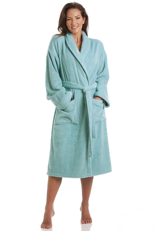 Camille Womens Luxury Aqua Blue 100% Cotton Towelling Bath Robe 7091b898a