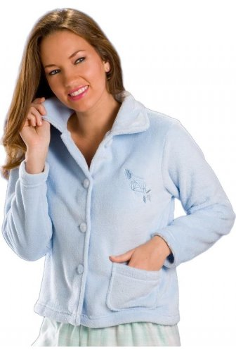 Womens Luxury Blue Button Up Fleece Bed Jacket