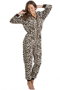 Womens Luxury Brown Snow Leopard Print Hooded All In One Onesie Pyjama