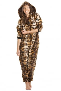 Womens Luxury Gold And Brown Tiger Print Hooded All In One Onesie Pyjama
