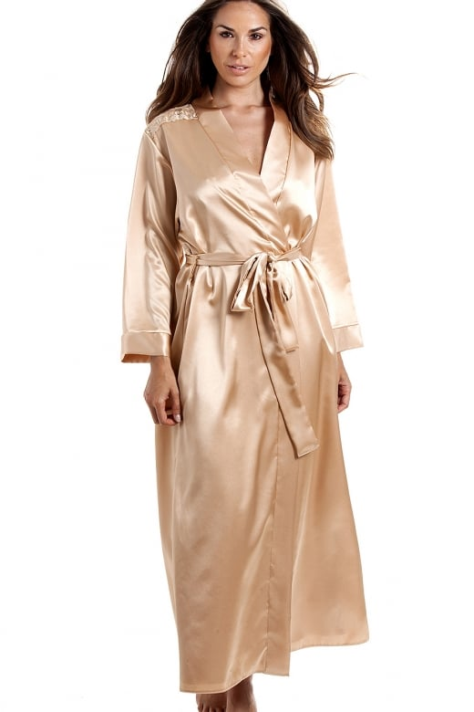 Womens Luxury Gold Satin Dressing gown