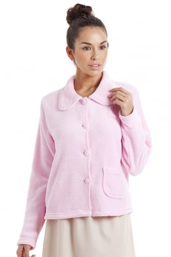 Womens Luxury Pink Button Up Fleece Bed Jacket