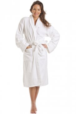 Womens Luxury White 100% Cotton Towelling Bath Robe