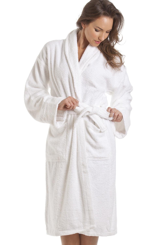 womens white towelling bath robe. Black Bedroom Furniture Sets. Home Design Ideas
