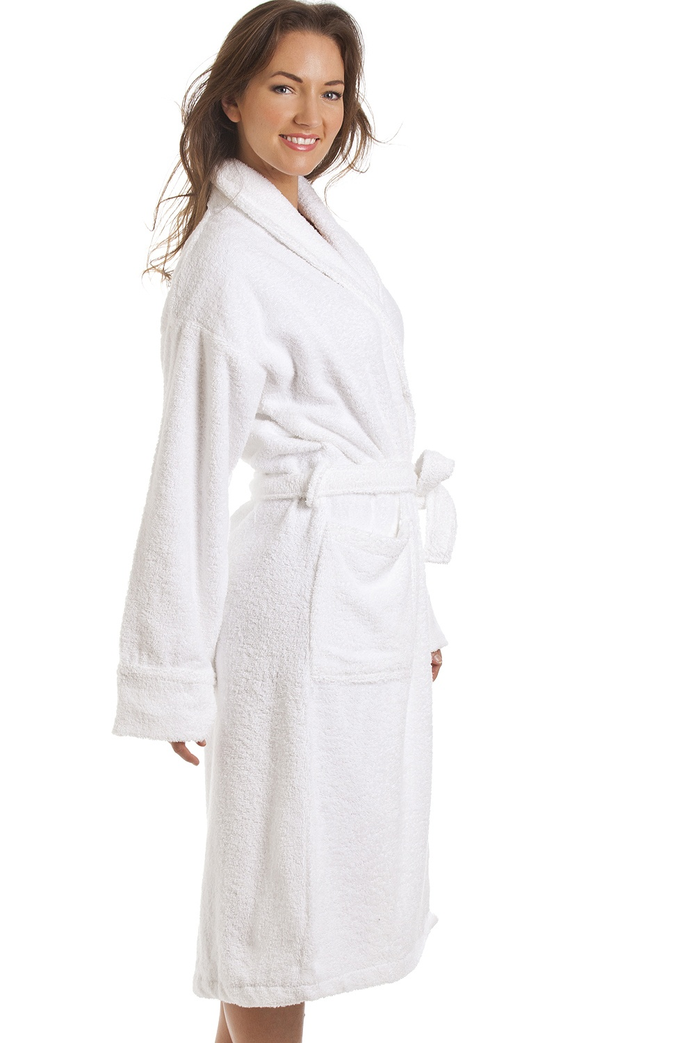 Womens white towelling bath robe for Luxury women