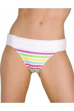 Womens Multi-Coloured Tutti Frutti Rollover Waist Bikini Briefs White