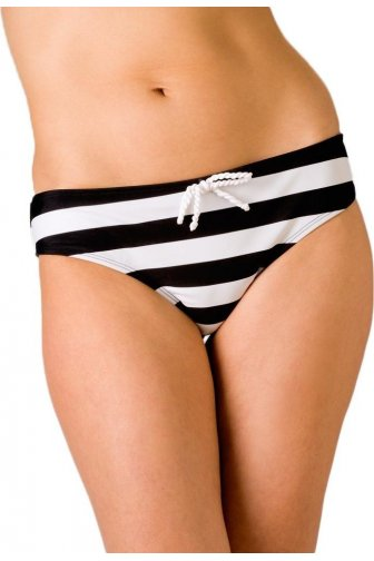 Womens Nautical Stripe Full Bikini Brief Black Size 10-18
