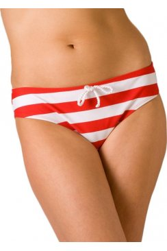Womens Nautical Stripe Full Bikini Brief Red Size 10-18