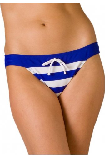 Womens Nautical Stripe Plain Waistband Bikini Brief Blue