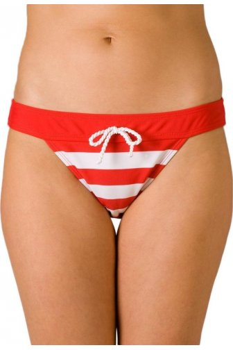 Womens Nautical Stripe Plain Waistband Bikini Brief Red