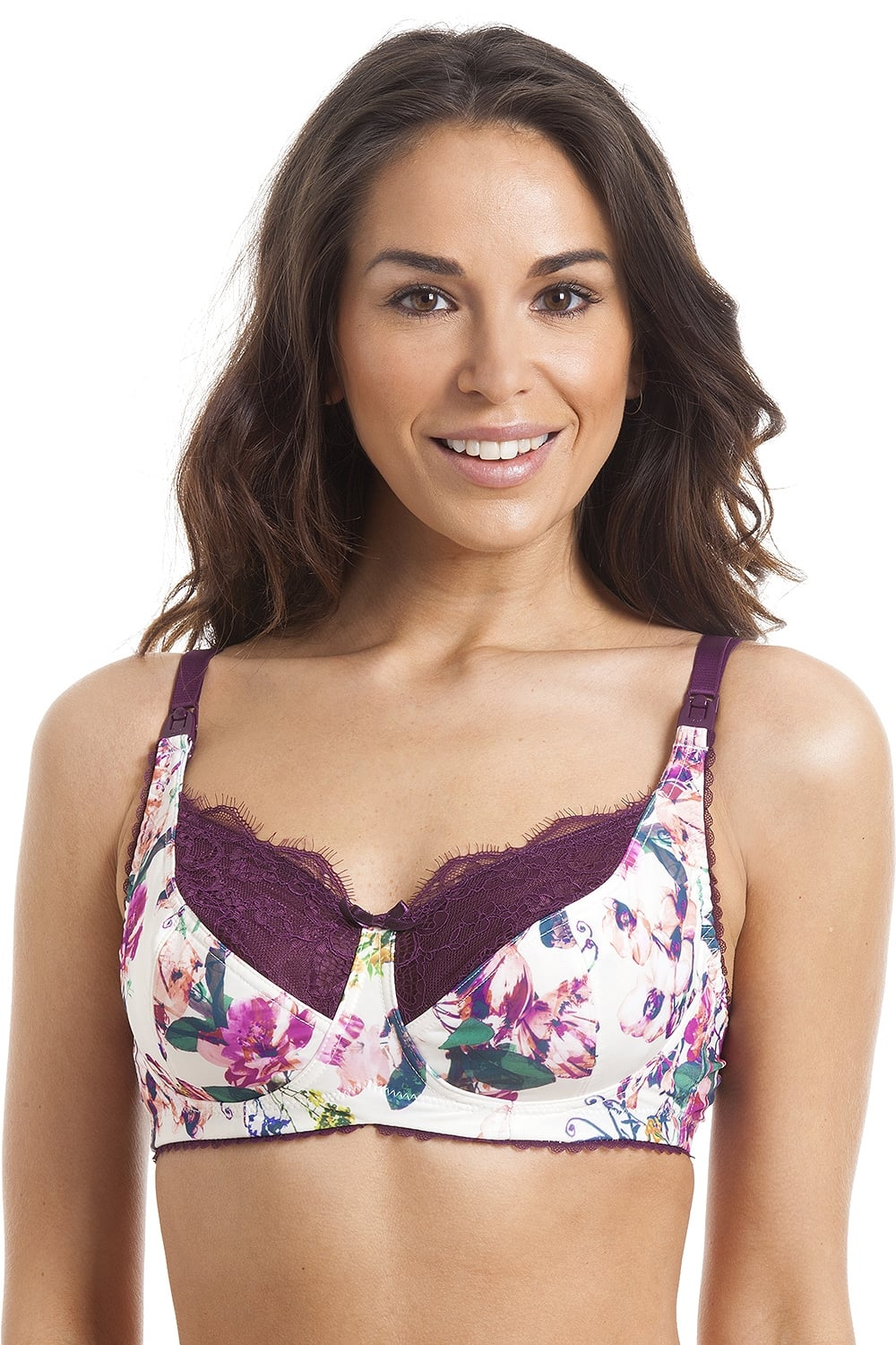 eb2890c2c7 Royce Lingerie Womens Non Wired Florence Cream And Aubergine Floral Nursing  Bra