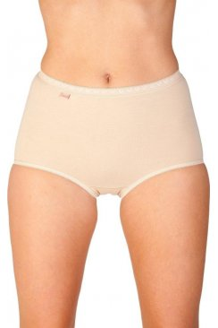 Womens Nude Beige Three Pack Cotton Maxi Briefs