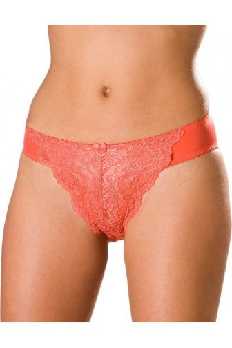 Womens Orange Floral Lace Briefs