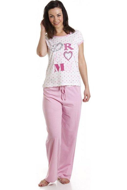 Womens Pink Cotton Polka Dot Dream Pyjama Set c2c707c5ad