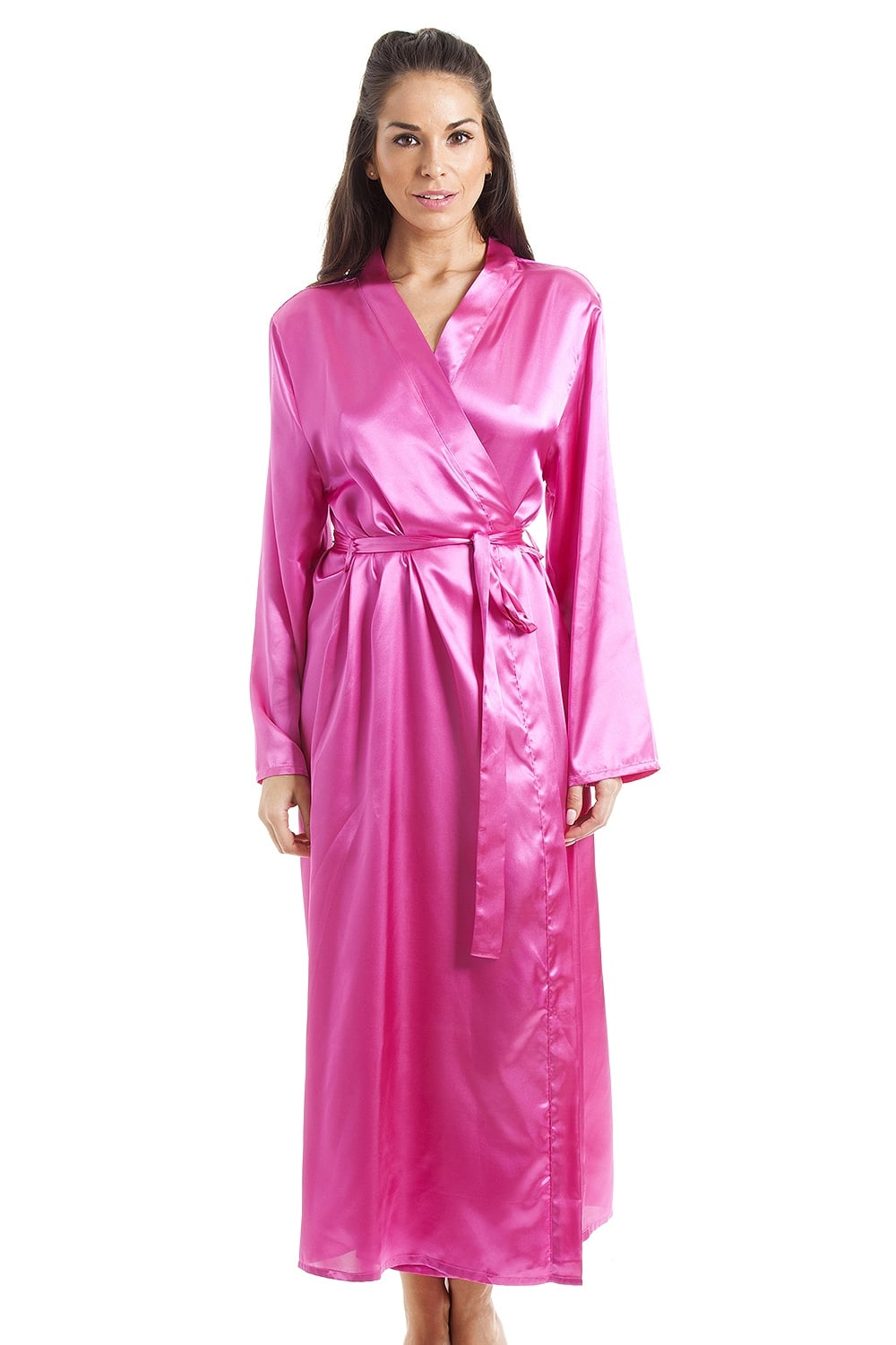 Womens Pink Luxury Satin Dressing Gown