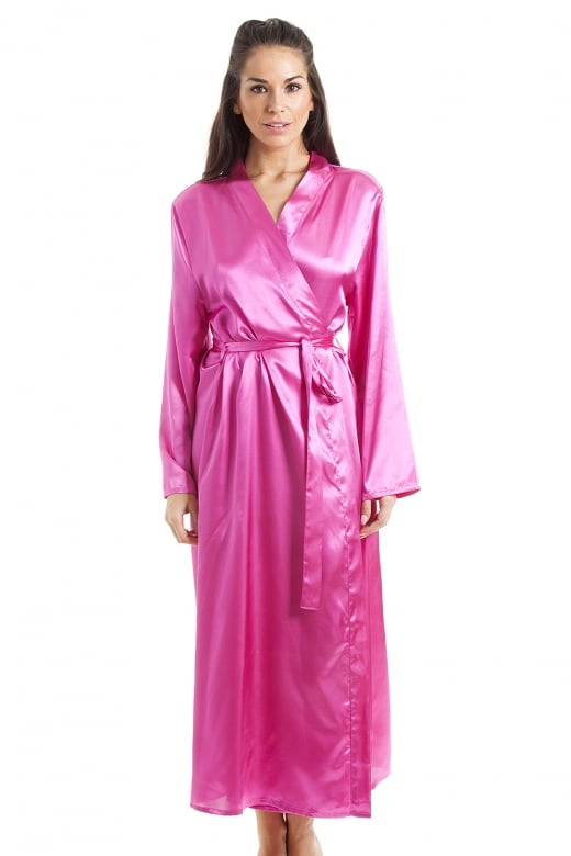 Camille Womens Pink Luxury Satin Dressing Gown