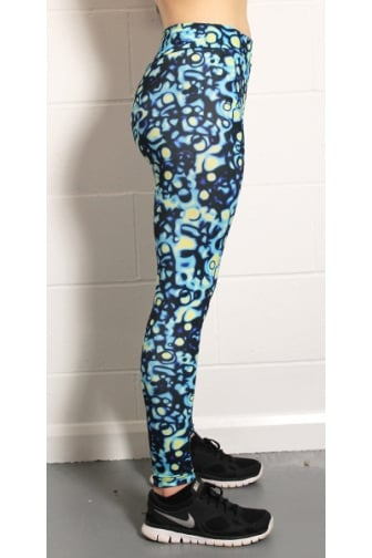 Womens Proskins Muscle Supportive High Stretch Blue & Yellow Leggings