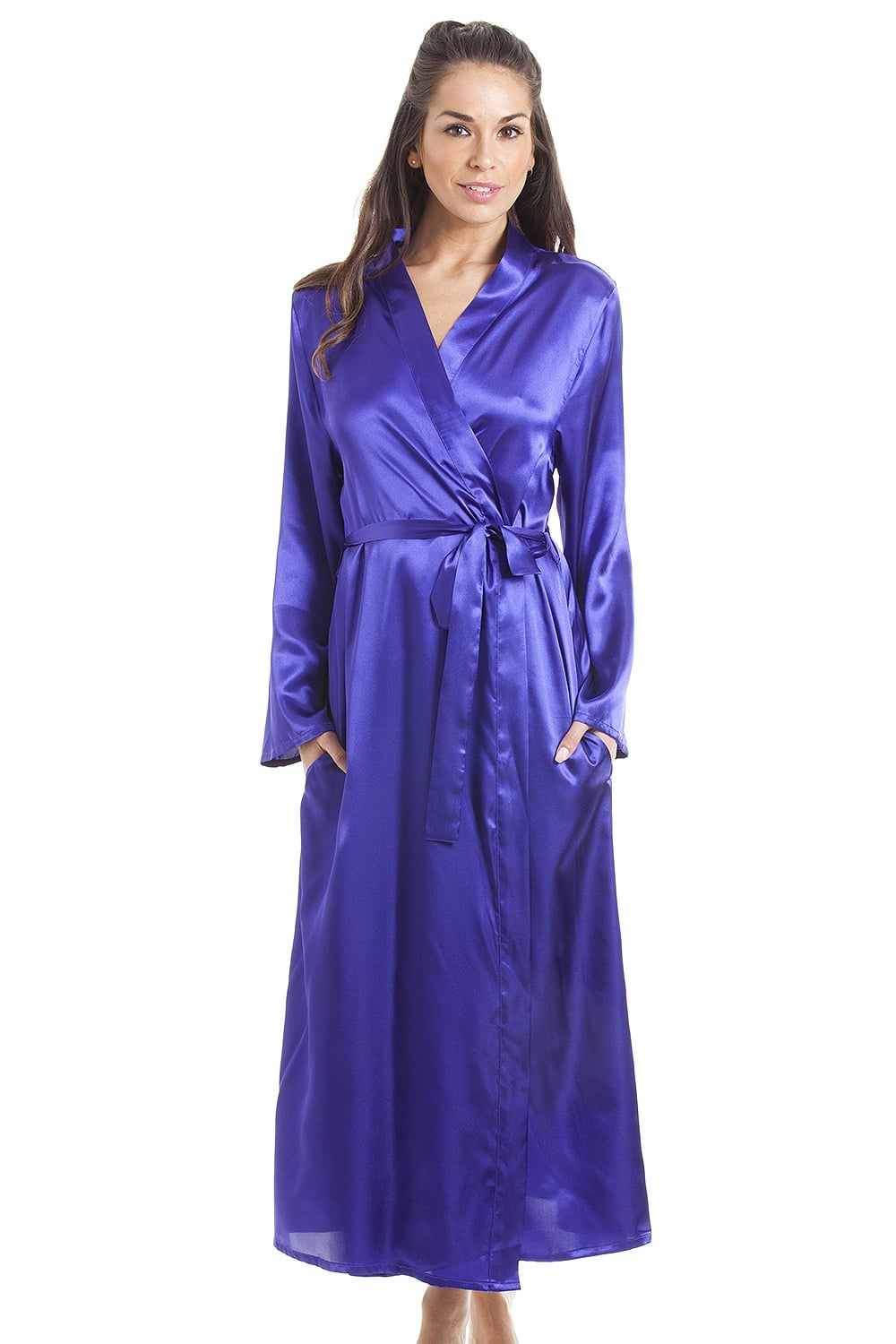 Womens Purple Luxury Satin Dressing Gown