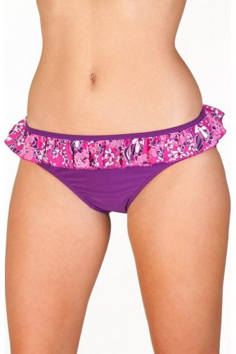 Womens Purple Pink Floral Swimwear Ladies Bikini Briefs