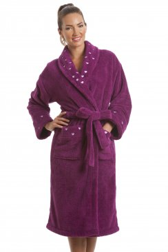 Womens Purple Supersoft Fleece Heart Print Bathrobe