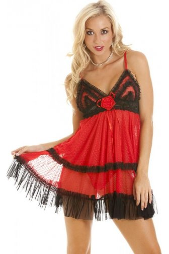 Womens Red And Black Rose Detail Sheer Babydoll - One Size