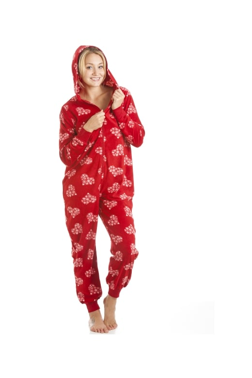 Camille Womens Red Love Heart Print All In One Hooded Onesie