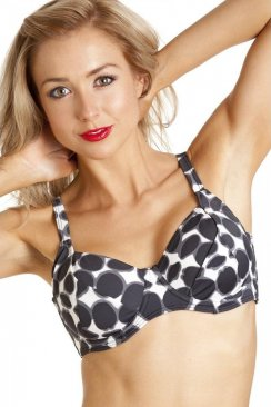 Womens Retro Print Black And White Swimwear Underwired Bikini Top
